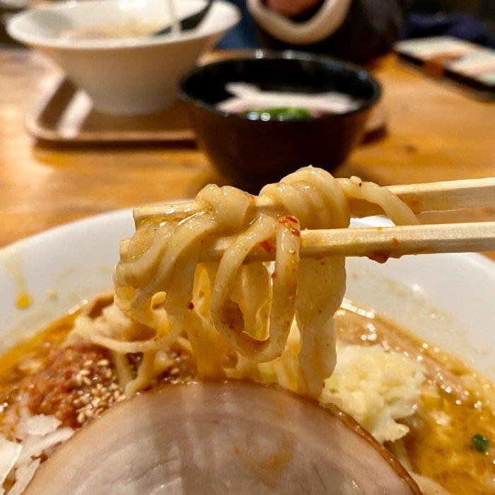 スープとよく絡まる太麺